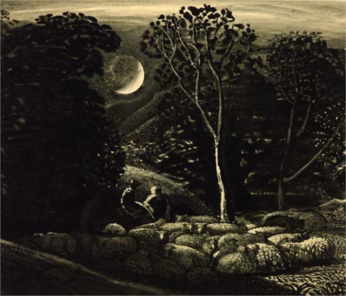 Moonlight, a Landscape with Sheep, 1833 - Samuel Palmer