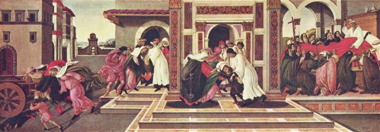 Serie von vier Gemälden zum Leben des Hl. Zenobius von Florenz, 1500 - 1505 - Sandro Botticelli
