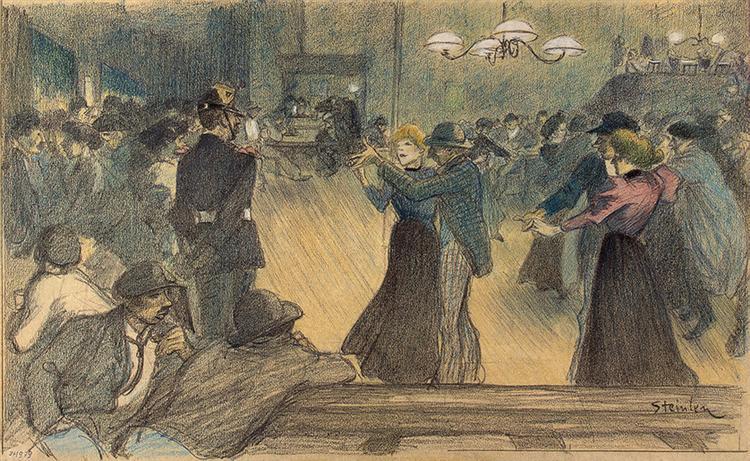 Bal de Barriere drawing - Theophile Steinlen