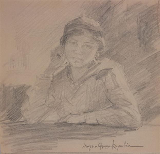 Portrait of Maria Kalfopoulou, chant professor - Thalia Flora-Karavia