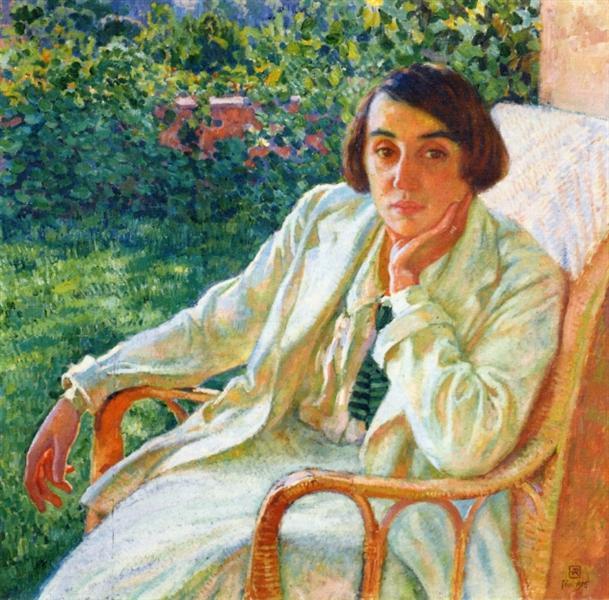 Elizabeth van Rysselberghe in a Cane Chair, 1916 - Theo van Rysselberghe