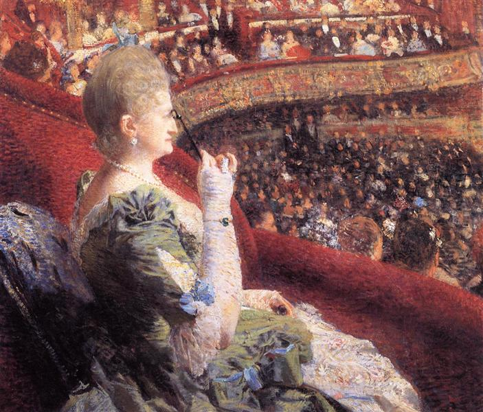 Madame Edmond Picard in Her Box at Theatre de la Monnaie, c.1886 - Theo van Rysselberghe