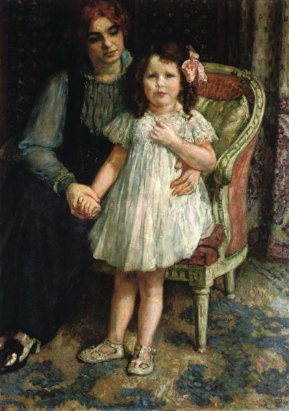 Portrait of Madame Goldner Max and Her Daughter Juliette, c.1915 - Theo van Rysselberghe