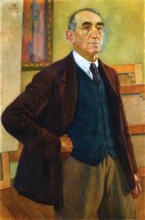 Self Portrait in a Green Waistcoat - Théo van Rysselberghe