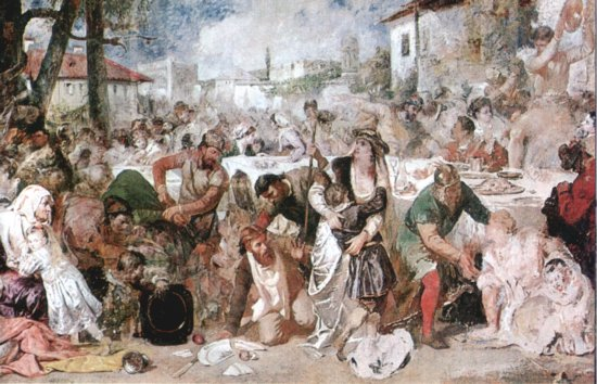 The Feasting Boyars Taken by Surprise by Vlad the Impaler's Envoys - Theodor Aman