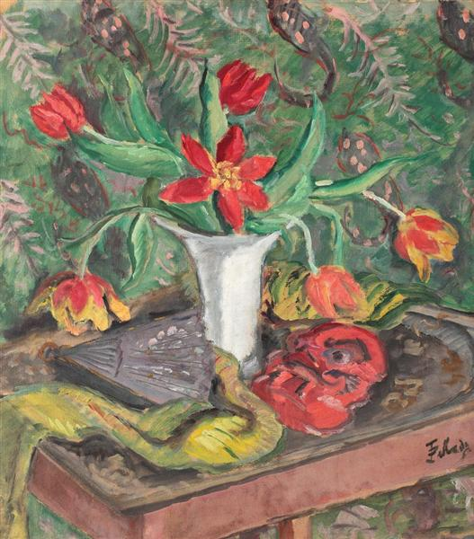 Still Life with Lilies, Fan and Red Mask - Theodor Pallady