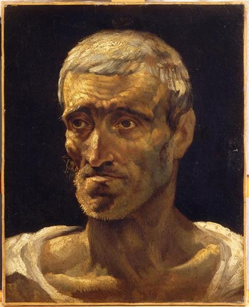 Head of a Shipwrecked Man (study for the Raft of Medusa), 1817 - 1819 - Theodore Gericault