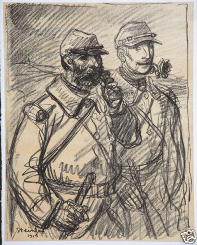 Croquis - Deux Poilus, 1916 - Theophile Steinlen