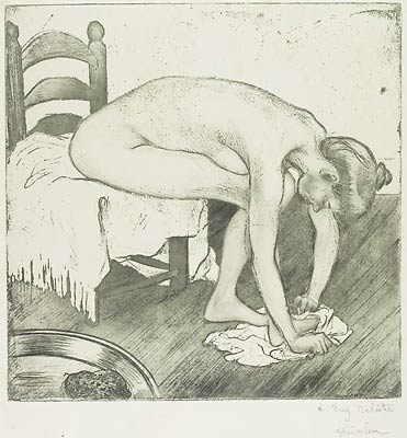 Femme Nue Assise S'Essuyant Les Pieds, 1902 - Theophile Steinlen