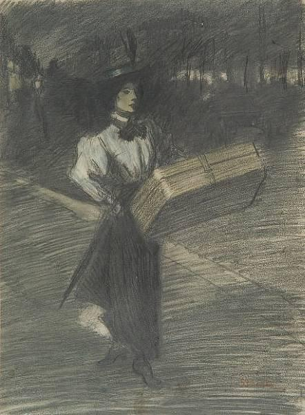 Girl with case - Theophile Steinlen
