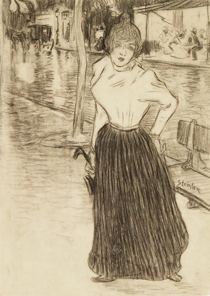 Jeune femme dans la rue - Theophile Steinlen