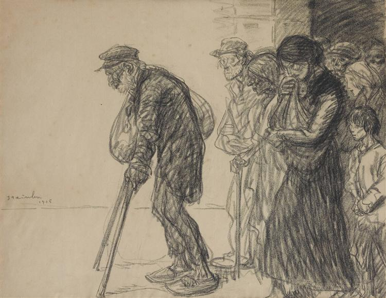 Les Internes Preparatory drawing for, 1915 - Theophile Steinlen