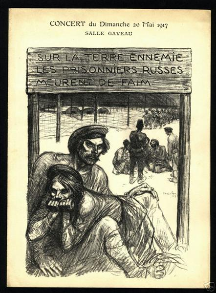 On the enemy land - Russian prisoners starves from hunger, 1917 - Theophile Steinlen