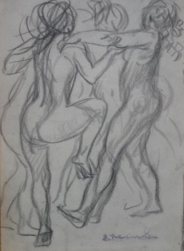 Three Nude Women Dancing - Theophile Steinlen