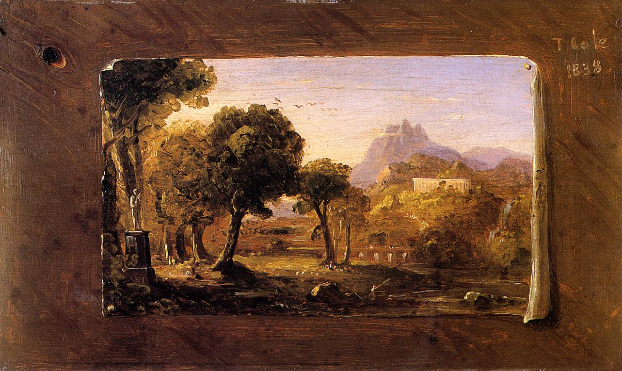 an analysis of thomas cole on landscape painting We are grateful to dr alan wallach for his assistance in researching this lot private collection, lenox, massachusetts by descent to the present owner 65 thomas cole 1801 - 1848 landscape sketch oil on paper laid down on.