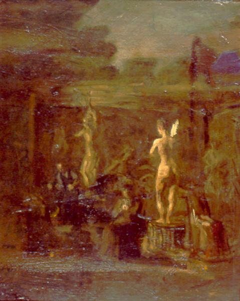 Compositional Study for William Rush Carving His Allegorical Figure of the Schuylkill River - Thomas Eakins