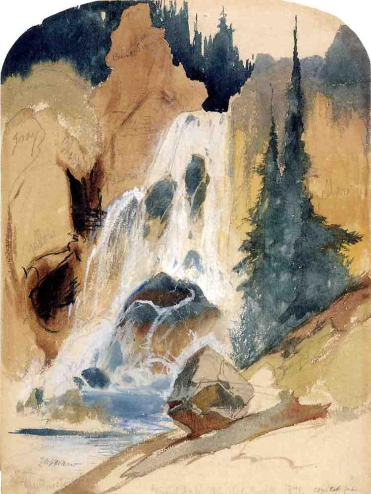 Crystal Falls Watercolour 1871 Thomas Moran Wikiart Org