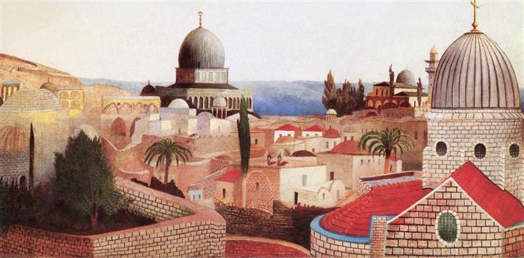 View of the Dead Sea from the Temple Square in Jerusalem, 1905 - Tivadar Kosztka Csontvary