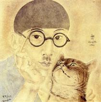 Self Porttrait with a cat - Цугухару Фудзита