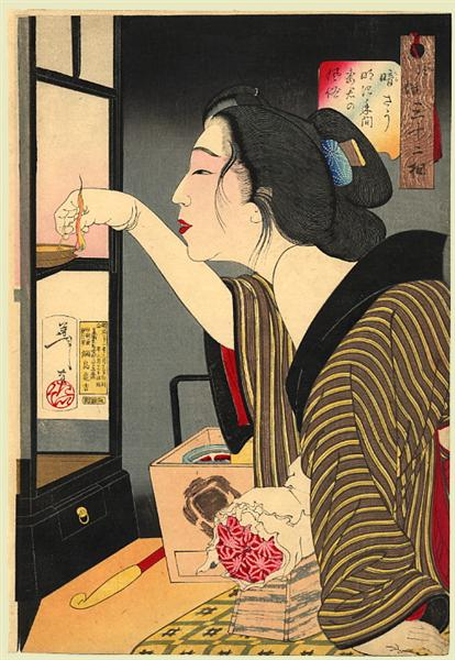 Looking dark - The appearance of a wife during the Meiji era, 1888 - Yoshitoshi