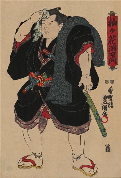Sumo wrestler Somagahana Fuchiemon - Utagawa Kunisada