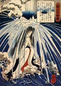 Hatsuhana fa penitenza sotto la cascata di Tonosawa - Utagawa Kuniyoshi