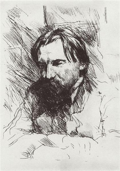 Portrait of the artist-engraver V.V. Mate, 1898 - 1899 - Valentin Serov