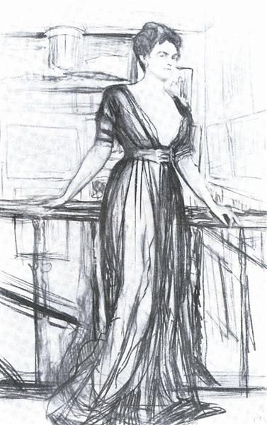 Sketch for a portrait of P.I. Scherbatova, 1911 - Valentin Serov