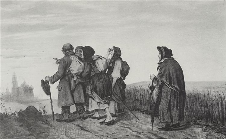 Pilgrims. On a pilgrimage, 1867 - Vasily Perov