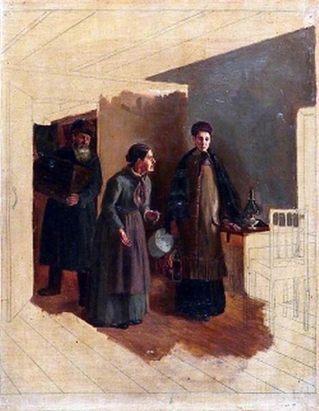 The arrival of rural teachers - Vasily Perov