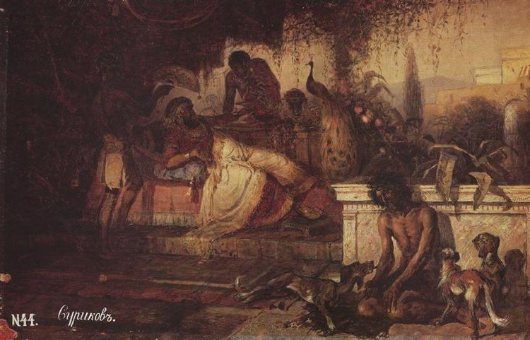 A rich man and Lazarus, 1873 - Vasily Surikov