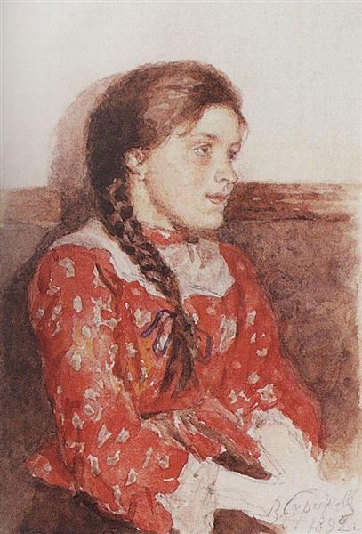 Girl with a red jacket, 1892 - Vasily Surikov