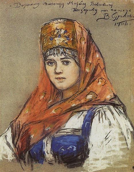 Portrait of young lady, 1906 - Василь Суриков