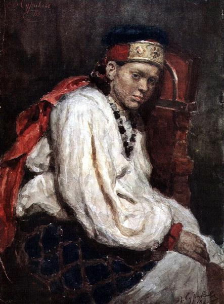 The model in the ancient russian costume, 1882 - Vasily Surikov