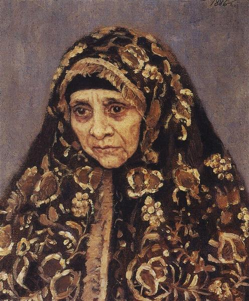The old woman with a patterned headscarf, 1886 - Vasily Surikov