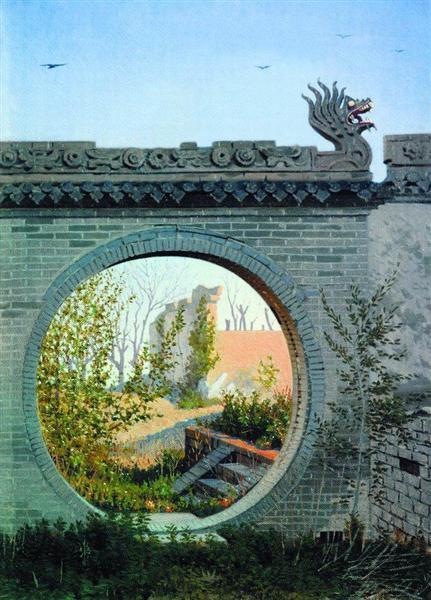 A Garden gate in Chuguchak, 1869 - 1870 - Vasily Vereshchagin