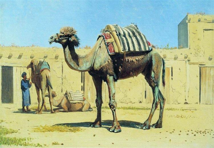 Camel in the courtyard of caravanserai, 1869 - 1870 - Vasily Vereshchagin