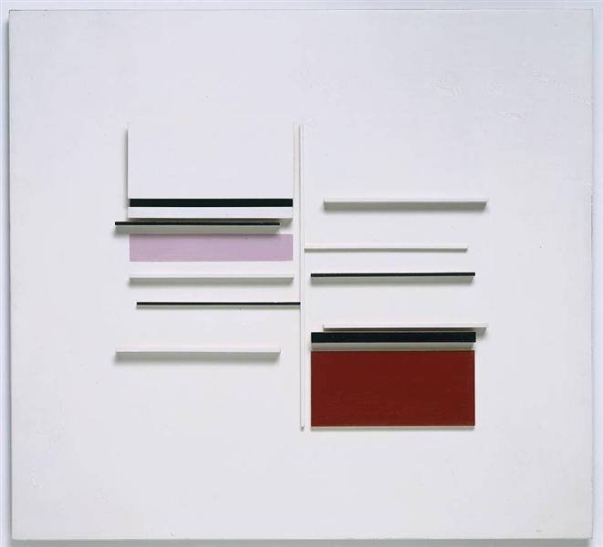 Abstract in White, Black, Indian and Lilac - Victor Pasmore