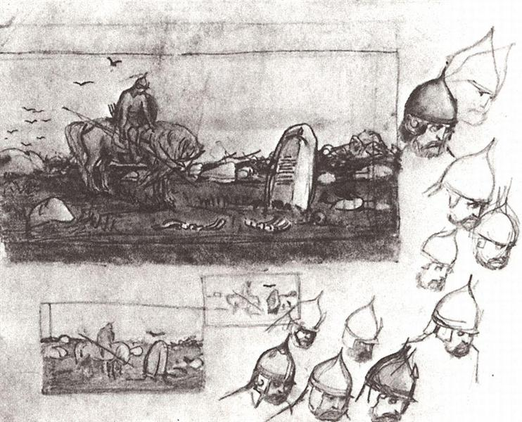 "Rough sketches for the painting on ""A knights at the crossroad"" - Viktor Vasnetsov"
