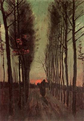 Avenida de álamos en la puesta del sol, Vincent van Gogh