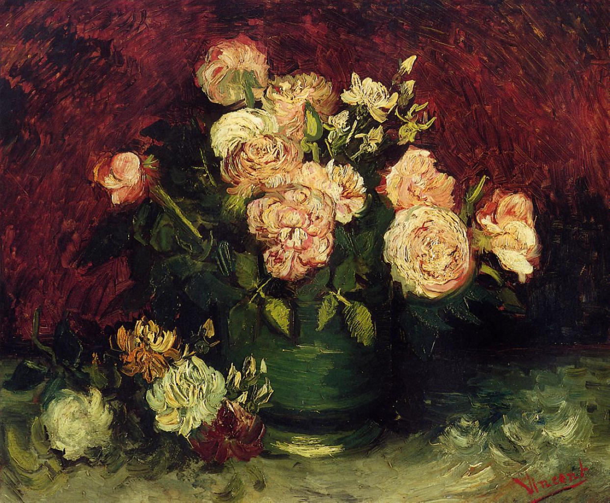 Bowl with Peonies and Roses 1886 Vincent van Gogh WikiArt