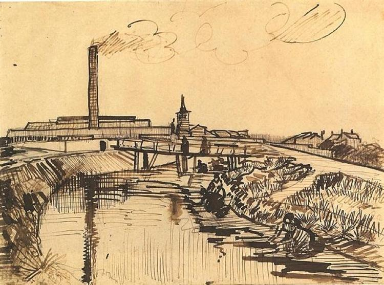 Canal with Bridge and Women Washing, 1888 - Vincent van Gogh