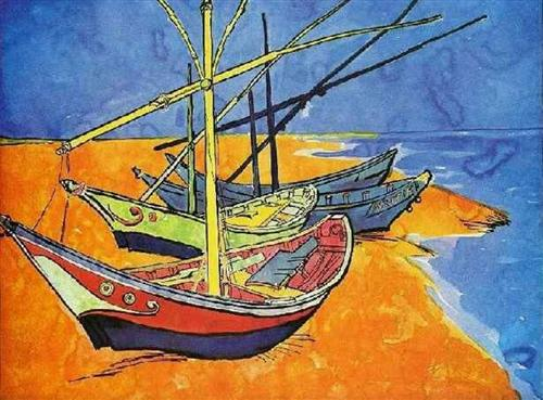 Fishing Boats on the Beach at Saintes-Maries-de-la-Mer - Vincent van Gogh