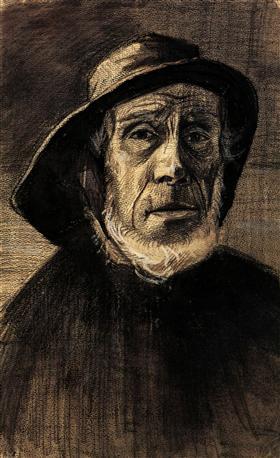 Cabeza de un pescador con una orla de barba y un Sou'wester, Vincent van Gogh