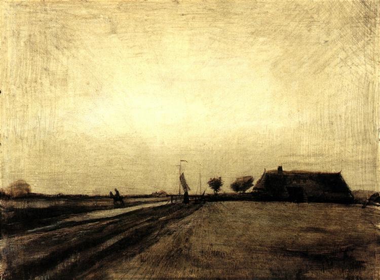 landscape in drenthe 1883 vincent van gogh wikiartorg