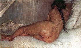 Mujer desnuda que descansa, de espaldas, Vincent van Gogh