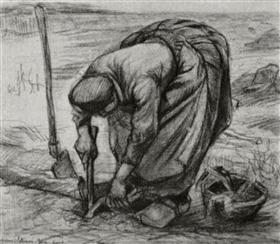 Mujer campesina, planta las remolachas, Vincent van Gogh