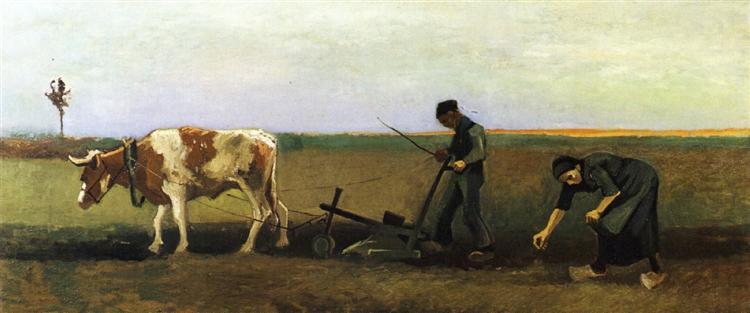 Ploughman with Woman Planting Potatoes, 1884 - Винсент Ван Гог
