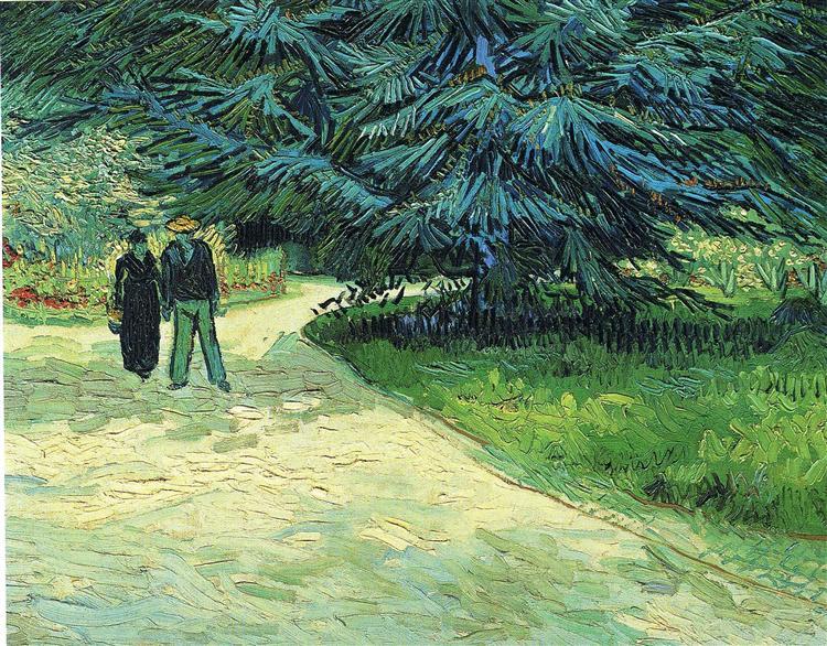 Public Garden with Couple and Blue Fir Tree (The Poet s Garden III), 1888 - Vincent van Gogh
