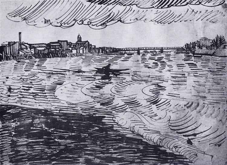Rhone with Boats and a Bridge, 1888 - Вінсент Ван Гог